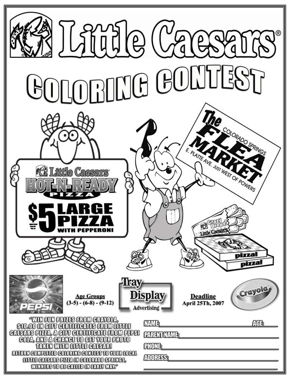 Tray liner placemat and pizza box advertising tapia for Little caesars coloring pages